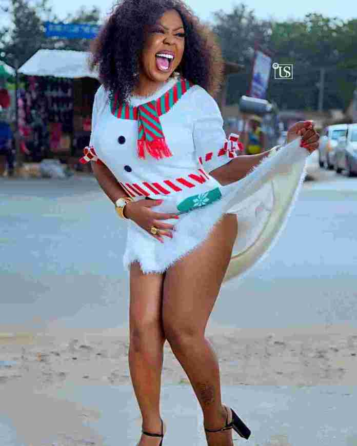Actress Afia Schwarzenegger in her Christmas costume