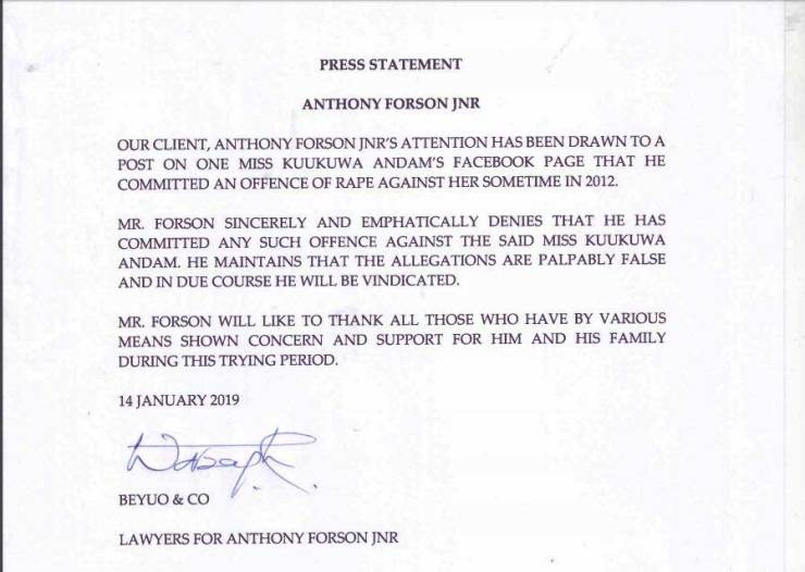 GBA president Anthony Forson Jnr reacts to rape allegations