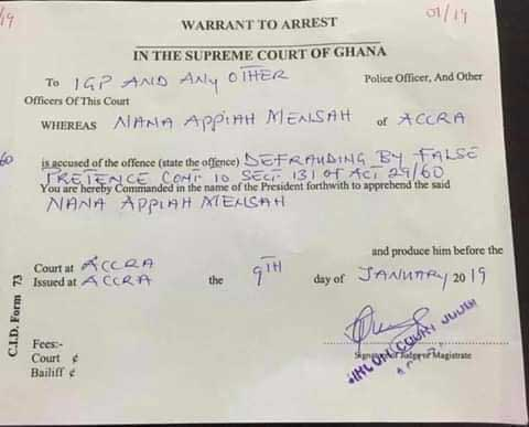 Warrant for the arrest of Nana Appiah Mensah
