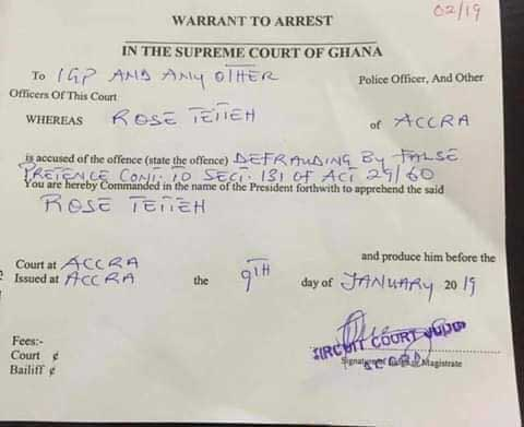 Warrant for the arrest of Rose Tetteh