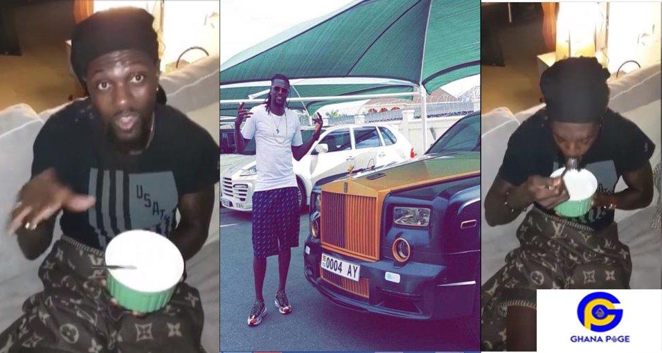Adebayor5 - Video of rich Adebayor drinking gari soakings causes stir on social media
