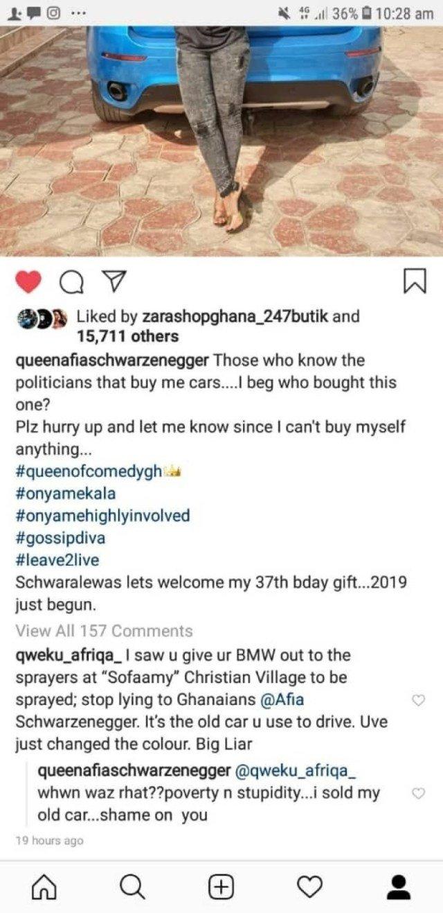 Afia schwar sc - Afia Schwar attacks fan who revealed she had re-sprayed her old car