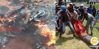 Angry youth lynch motor rider for knocking down a woman