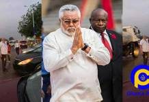 Photos of Jerry John Rawlings directing heavy traffic at Accra-Prampram road goes viral [SEE]