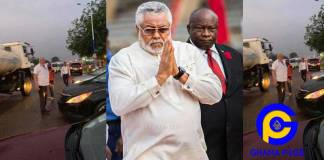Photos of Jerry John Rawlings directing heavy traffic at Accra-Prampram road goes viral [SEE]