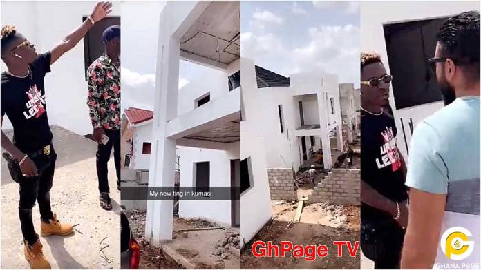 Shatta Wale flaunts uncompleted big mansion in Kumasi