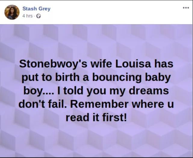 Stonebwoy and wife, Dr. Louisa welcome a bouncy baby boy?