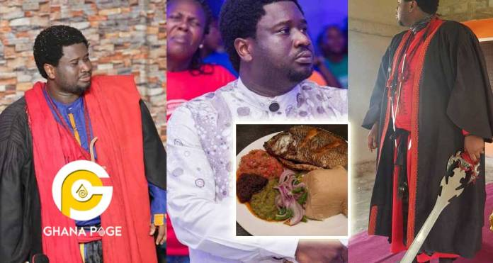 Videos: Meet Bishop Asiamah, pastor who serves Fufu, Omotuo, Kenkey, etc for communion service