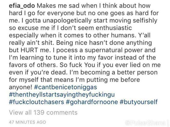 Efia Odo deactivates Instagram - Efia Odo deletes Twitter account to avoid trolls