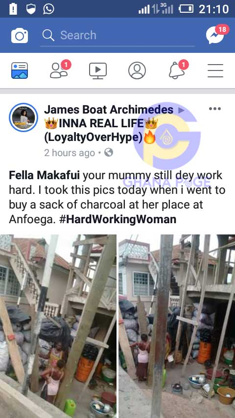 Fella Makafui Mother 2 - Photos of Fella Makafui's mother selling charcoal to survive pops up