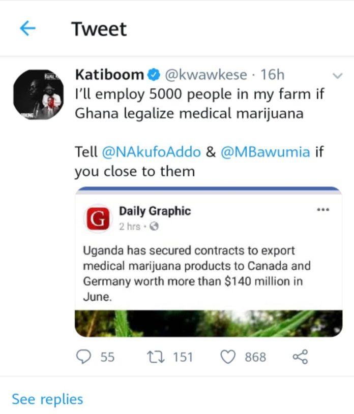 Kwaw Kese tweet - I'll employ 5000 people on my farm if marijuana is legalized – Kwaw Kese