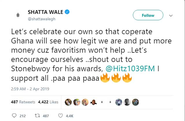 WALE STONEBWOY - Shatta Wale congratulates the BHIM President on his awards