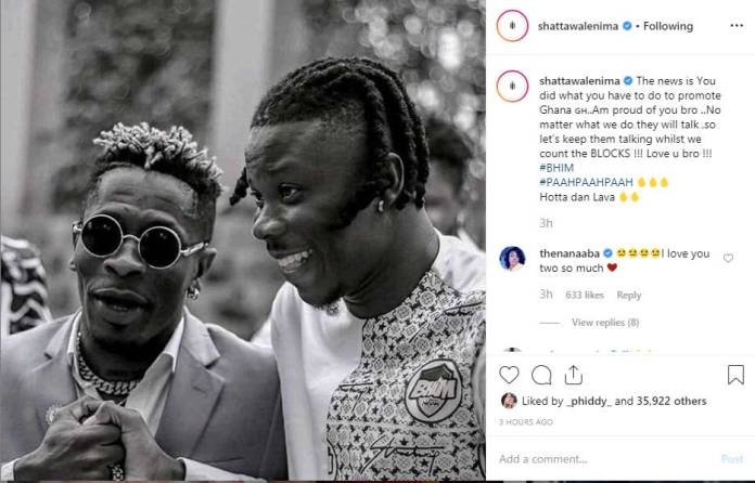 SHATTA WALE INSTA POST - You did your best to promote Ghana, I'm proud of you -Shatta Wale tells Stonebwoy
