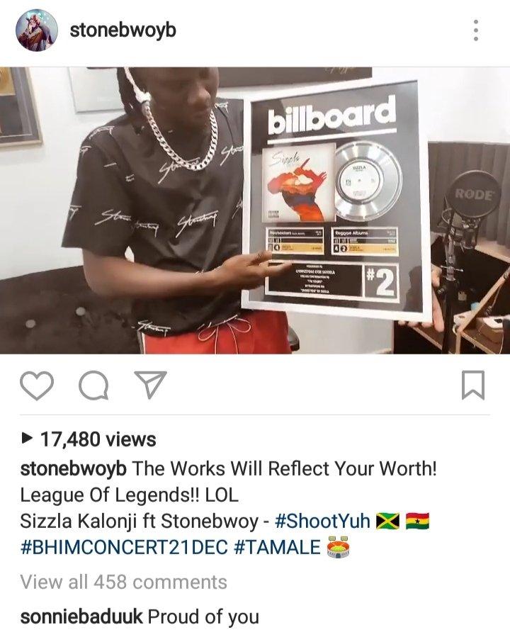 Sonnie Badu congratulates Stonebwoy for getting a Billboard plaque 2