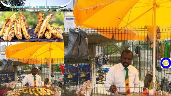 A-graduate-of-KNUST-turns-roasted-plantain-seller--sells-in-suit-and-tie