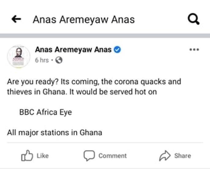 Anas Aremeyaw Anas post on social media