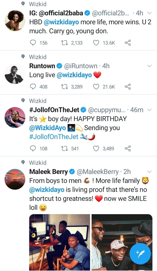 2Face, Maleek berry and co's wishes to Wizkid