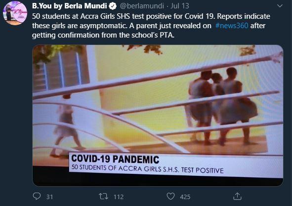 50 students at Accra Girls SHS tests positive for coronavirus-Berla Mundi