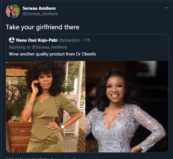 Serwaa-Amihere-savagey-answers-a-fan-who-tagged-her-product-of-Obengfo