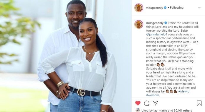 Dumelo's wife's post