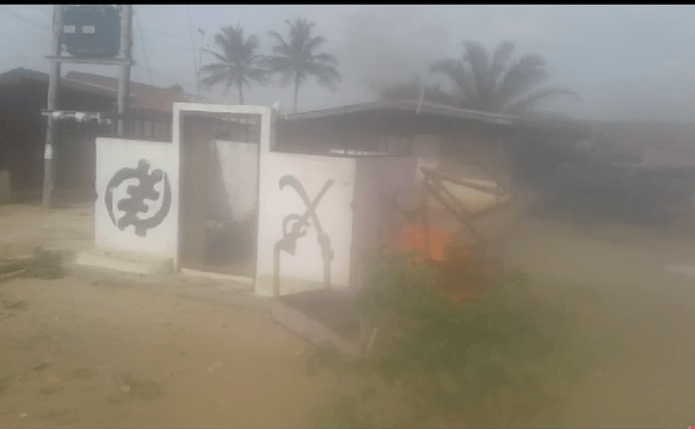 Otumfuo's shrine set on fire, police clash with angry youth as they nearly burnt palace 2