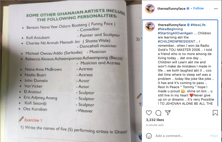 Funny Face's name get featured in a Creative Arts textbook 2