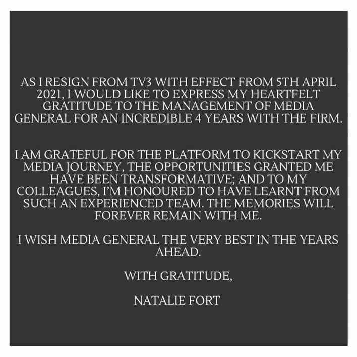 Natalie Fort resignation