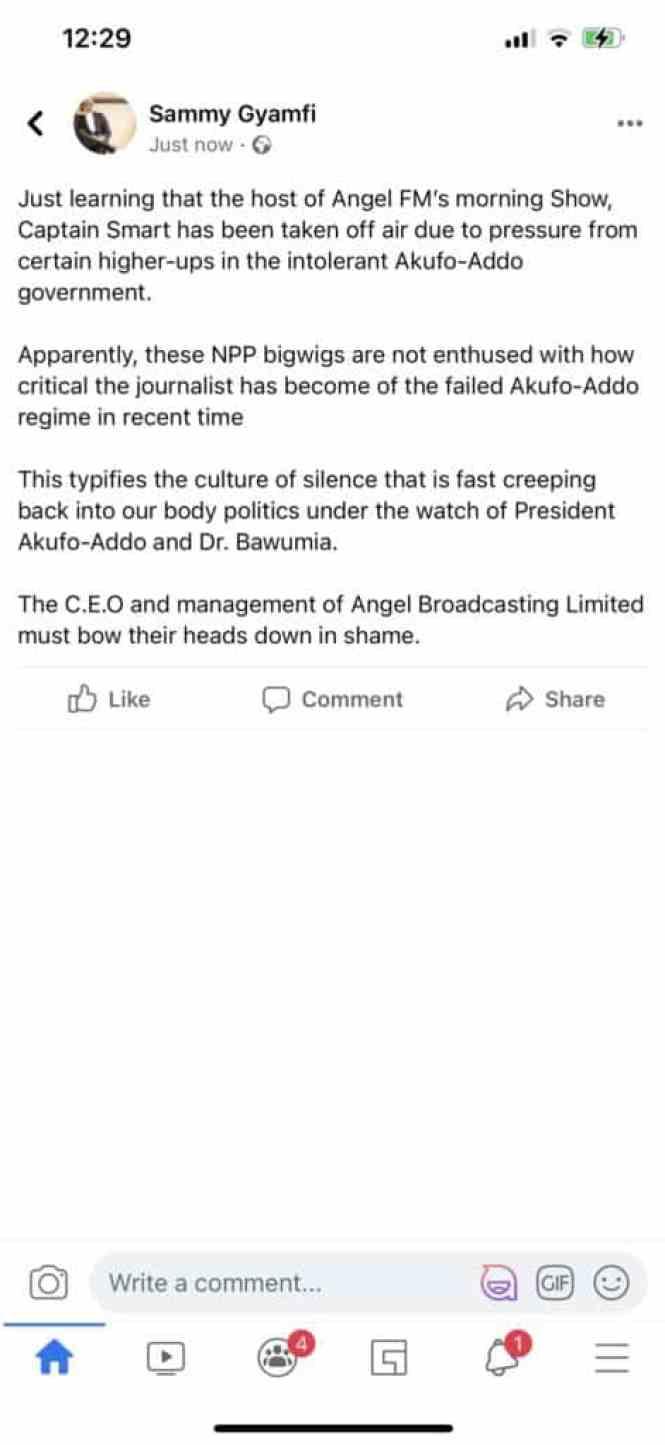 Sammy Gyamfi post
