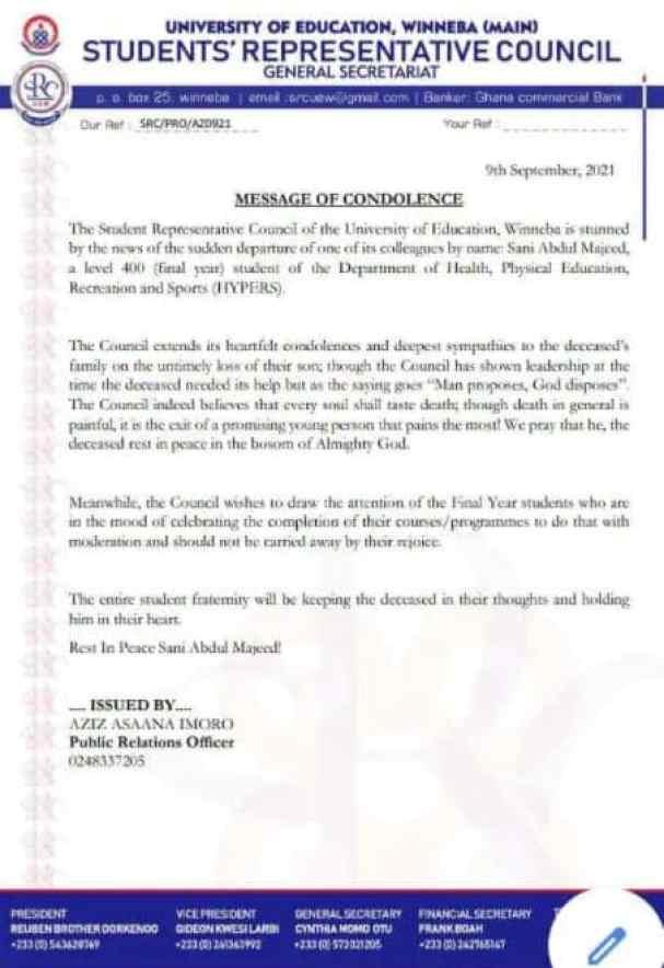 SRC statement of death of Sani Abdul Majeed