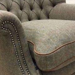 High Back Wing Chairs Masoli Swivel Chair Button Harris Tweed | Ghshaw Ltd