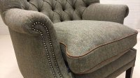 Button Back Harris Tweed Wing Chair | GHShaw Ltd