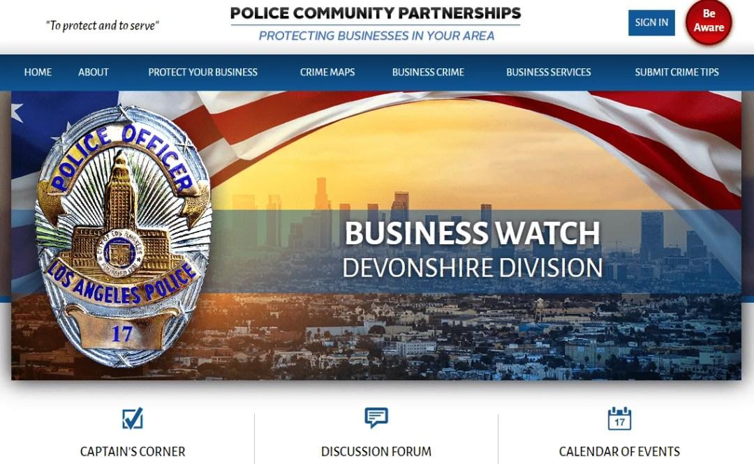 LAPD Devonshire Division Launches New E-Business Website