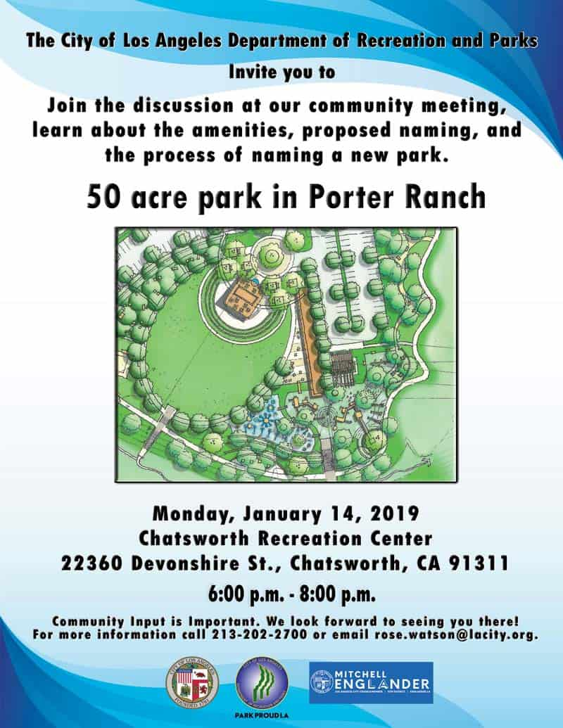 Community Meeting- Naming of New Porter Ranch Park (1/14/18)