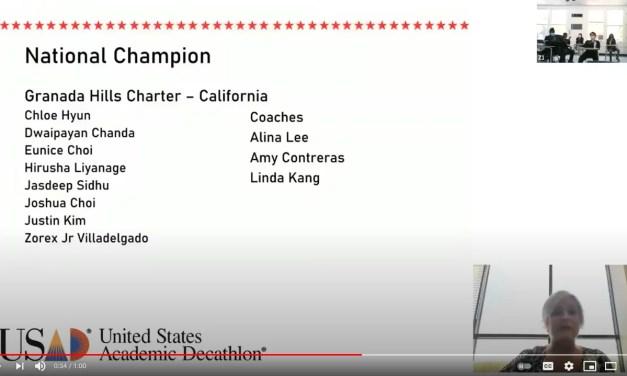 Granada Hills Charter Captures 2021 U.S. Academic Decathlon Title for 8th Victory!