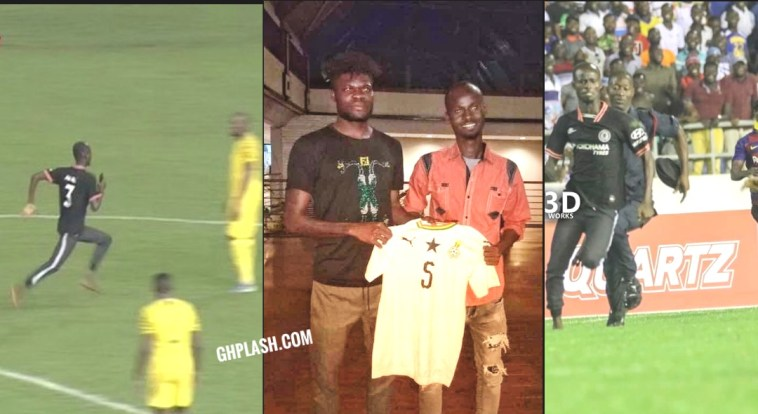 , Photos: Thomas Partey meets Pitch Invader, Awal and gifts him a signed jersey, GHSPLASH.COM