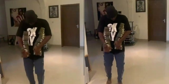Medikal flaunts bundles of cedi notes
