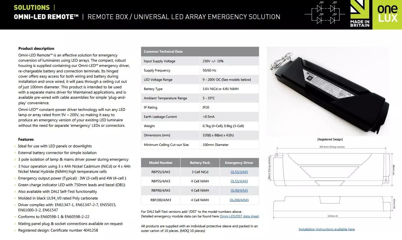 Omni Led Emergency Module For Led Lighting Inc Battery