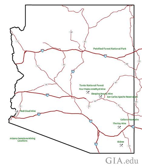 Bản đồ vị trí của các mỏ khai thác một số đá quý ở Arizona. GIA
