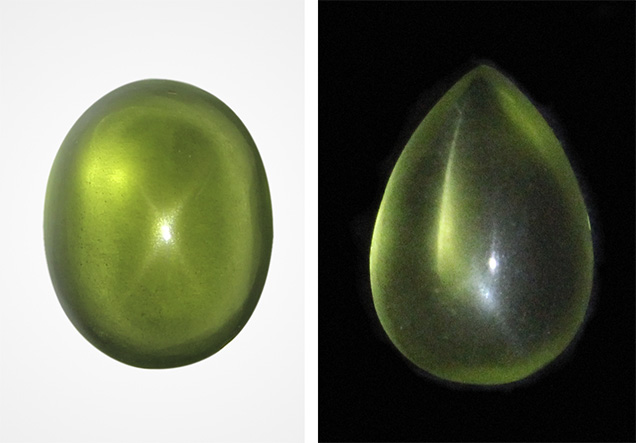 20.13 carat star peridot (left) and 7.67 carat peridot (right). Photos by Bear Williams.