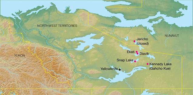 Bản đồ khai thác kim cương của Diavik ở khu vực phía Bắc Canada. GIA