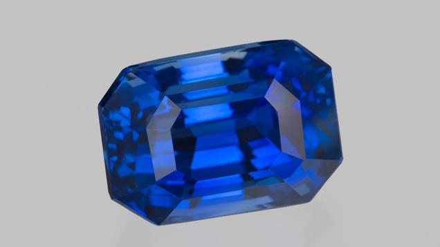 33.16 carat blue sapphire from Sri Lanka. Photo by Robert Weldon/GIA; courtesy of B&B Fine Gems.