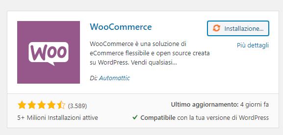 installiamo woocommerce