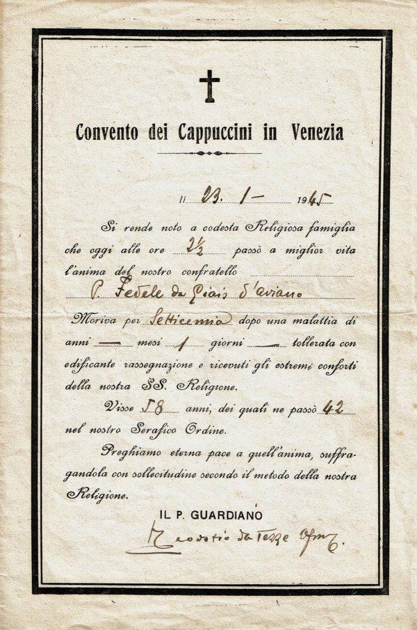 Certificato di morte di Padre Fedele di Giais