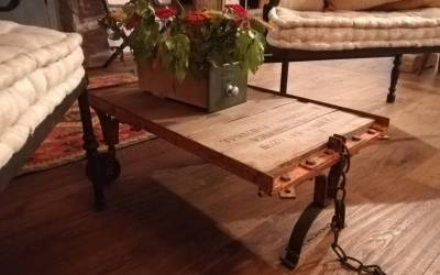 Industrial coffee table for living room