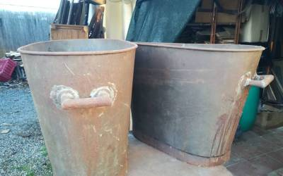 Tanks for olive oil made of tin plate from the 1920s