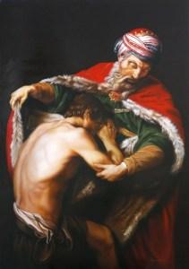 Il Figliol Prodigo di C. P. Batoni (1773) – Aerografia su tela (acrilico) – 70x100 cm – anno 2015 – Coll. Privata