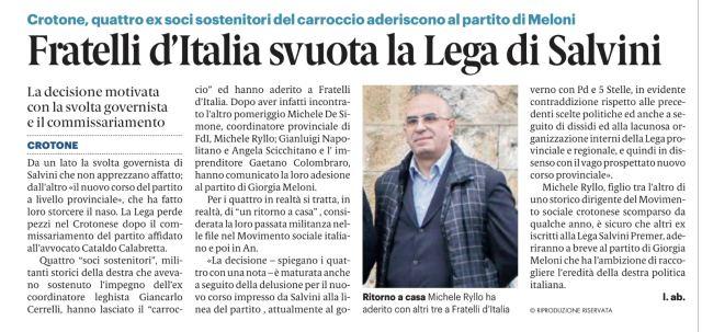 La Lega Salvini di Crotone perde pezzi