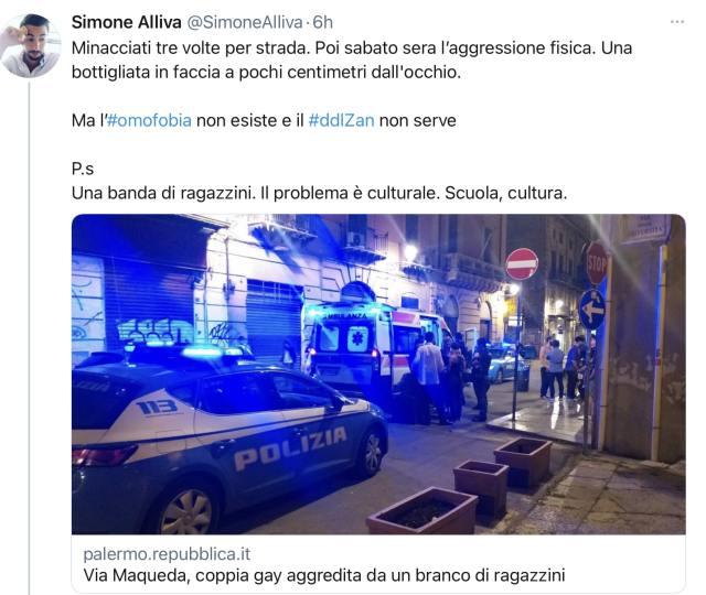 Tweet di Simone Alliva sulla rieducazione dei minori al gender