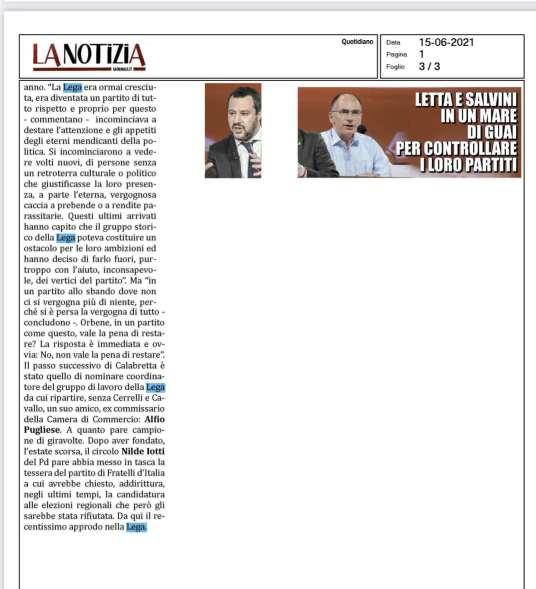 Articolo la Notizia: In Calabria 50 sbattono la porta