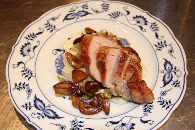 Sauteed Pork Tenderloin with Chestnut and Celery